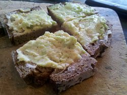 brown bread with avocado spread
