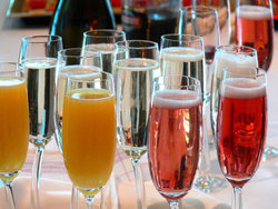 colourful champagne glasses