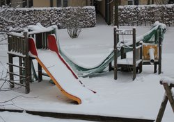 Heavy Snowfall onn childrens playground