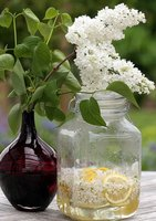 lilac syrup in a jar