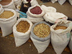 sacs of grains.